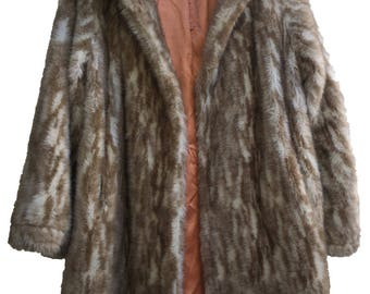 Snow Leopard Faux Fur Coat, Size M-L