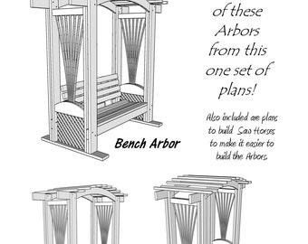 Garden Arbors - Build 3 Different Arbors with One Set of Plans! - Wood Plans - PDF File - Blueprint