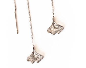 Petite, Sterling Silver Ginko Leaf Thread Earrings