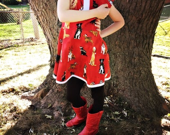 christmas dress holiday red dog print dress cap sleeve circle skirt european cute retro dress kitschy party dress round Peter Pan town-o