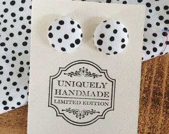 Covered Button Earrings - Polka Dot Earrings - Button Earrings - Fabric Earrings