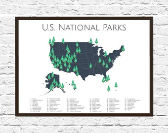 National Parks Checklist Map | Nursery Art