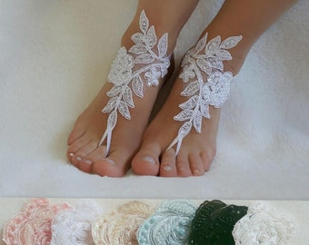 Beach Weddings Lace Barefoot Sandals  Bridesmaids Gift Bridal Jewelry Wedding Shoes Steampunk Bangle Free Ship Bridal Accessories Handmade
