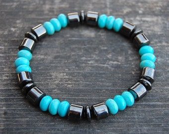Magnetic Hematite Bracelet,Turquoise Stone Beads,Man,Woman,health,Healing,Relieve,Protection,Meditation,Yoga,Stretch,Magnetic Bracelet,Gift