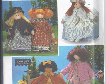 "Vintage Simplicity Crafts 8835 from 1999 Soft doll pattern:  Decorative Doll and Clothes 26""   UNCUT"