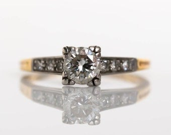 Circa 1940s Art Deco 18K Yellow Gold & Platinum Prongs .45ct Diamond Engagement Ring with .06cttw Side Diamonds - VEG#677