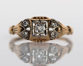 Circa 1930s Art Deco 14K Yellow Gold and White Gold .05ct Old European Cut Diamond Engagement Ring - VEG#707
