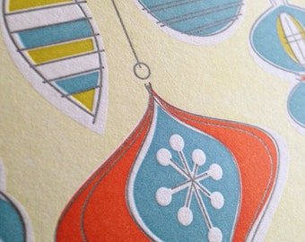 """Letterpress Christmas Holiday Cards """"Vintage Ornaments, Red"""""""