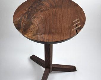 Walnut Pedestal Table    Mid Century Modern Table    Round Black Walnut End  Table