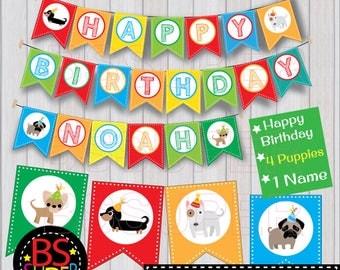 Puppy Birthday Banner , Puppy Birthday Party Banner , Puppies Party Custom Name Banner