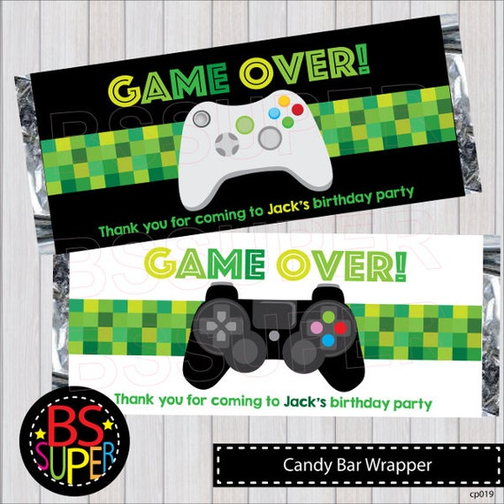 Video Game Party Candy Bar Wrapper Video Game Birthday Party