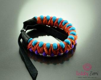Friendship bracelet, boho bracelet, pompon bracelet, leather bracelet, silk bracelet, unique bracelet, ethnic bracelet, recycled bracelet