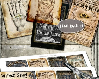 PALMISTRY CARDS printable aceo - gipsy halloween scrapbook greeting cards hang tags - Digital collage sheet instant download vintage - ac296