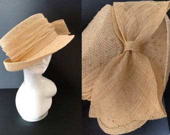 Natural Summer Garden Party Sun Straw Hat with Large Bow Detail