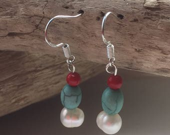 Handmade Sterling Silver, Turquoise, Fresh Water Pearls and Dyed Coral Drop Earrings