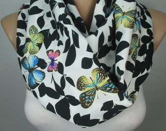 BUTTERFLY Print Scarf Shawl Animal Scarf Infinity Scarf Women Fashion Accessories Spring Summer Scarf Gift Ideas For Her For Mom