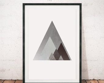 Geometric art, Triangles print, Mountains art print, Mountains poster, Abstract art, A3, Scandinavian art, Poster, Modern poster, Triangles