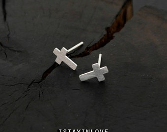 Sterling Silver Geometry Tiny Cross Earring | Geometry Jewelry I Personalized Gift