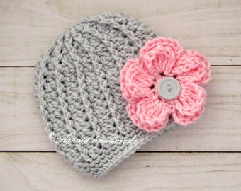 Baby girl hat, Infant girl hat with flower, Crochet baby girl beanie for Newborn to 12 Months, Soft acrylic wool, Great as home coming hat