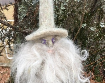 Needle Felted Gnome, Snow Gnome