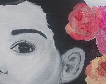 Audrey Hepburn, black and white, bright flowers, original on canvas. 16 x 20 inches