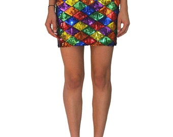MOSCHINO COUTURE Sequins Harlequin Skirt SIZE S 90s Vintage Franco Diamond Color