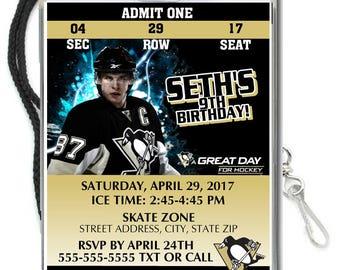12 PER PACK Birthday Party VIP Lanyard Invitations Card Pittsburgh Penguins Birthday Ticket Invitation Football Baby Showers Bar Mitzvahs