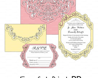 Wedding Invitations Set of 4 - 2 Envelopes and 2 Card RSVP Template swirl cutting file (svg, dxf, cdr vector) frame laser cut Cricut Cameo