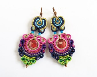Long soutache earrings with jaspers