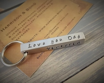 Personalised Keyring, Bar Keyring, Custom Keyring, Bar Key Fob, Stamped Key Chain, Personalised Key Fob, Personalised Gift, Silver Keyring