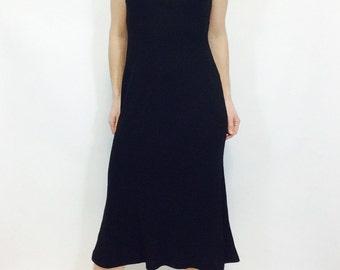 Black midi dress Little black dress mock turtleneck dress black ralph lauren dress black turtleneck dress ralph lauren dress small dress LBD