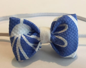 Blue and White Print Fabric Bow with Matching Head or Clip