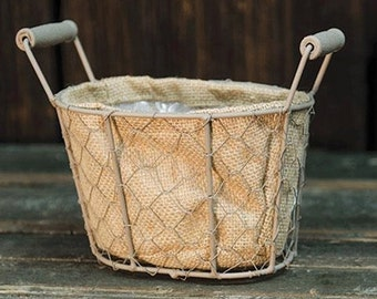 Oval Mesh Wire Basket with handles, Small Metal Basket with Burlap Lining, Mini Farm Basket