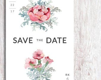 Minimalist Watercolor Save the Date Card + Envelope (set of 30)