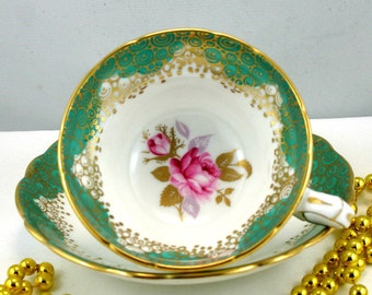 Reserved for M.Lovely, Hammersley,Footed Duo,Delicate Floral Pattern,Crisp Green Gilded Borders,Bone English China made in 1960s.
