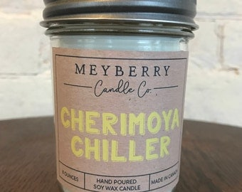 8oz Cherimoya Chiller Scented Candle, Hand Poured Soy Wax Candle, Meyberry Candles, Unique Gift, Soy Candles