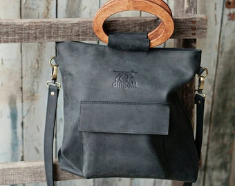 Leather tote bag, cross body tote, wooden handles bag, bag with front pocket, black leather tote, crossbody tote bag, black leather bag