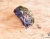 Bracelet en cuir vert et bleu feuilles Hespérides
