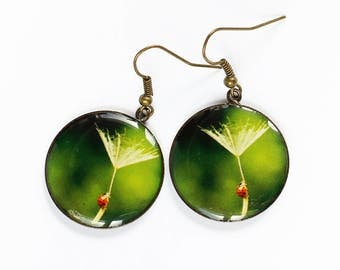 Dandelion earrings Ladybug earrings Green earrings Bronze earrings Insect jewelry Unusual earrings Unusual gifts for girlfriend gift women
