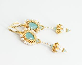 White pearl earrings Pearl jewelry Swarovski crystal earrings Chandelier earrings Wedding earrings Turquoise wedding jewelry for bridesmaid