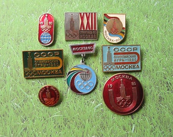 8 Olympic Pins, Moscow 80, Soviet Olympic Pin, Olympic Games, Sports Collectible, Olympic Collectible, Gift for Sportsmen