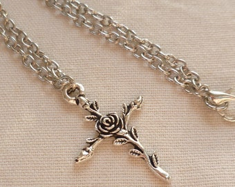 Cross necklace, cross rose necklace, silver cross jewelry,charm necklace, pendant,gift, religous,easter,rose necklace; silver crucifix
