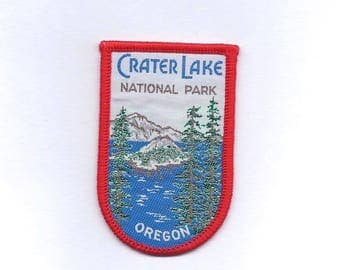 Vintage Crater Lake National Park Oregon Patch with green trees