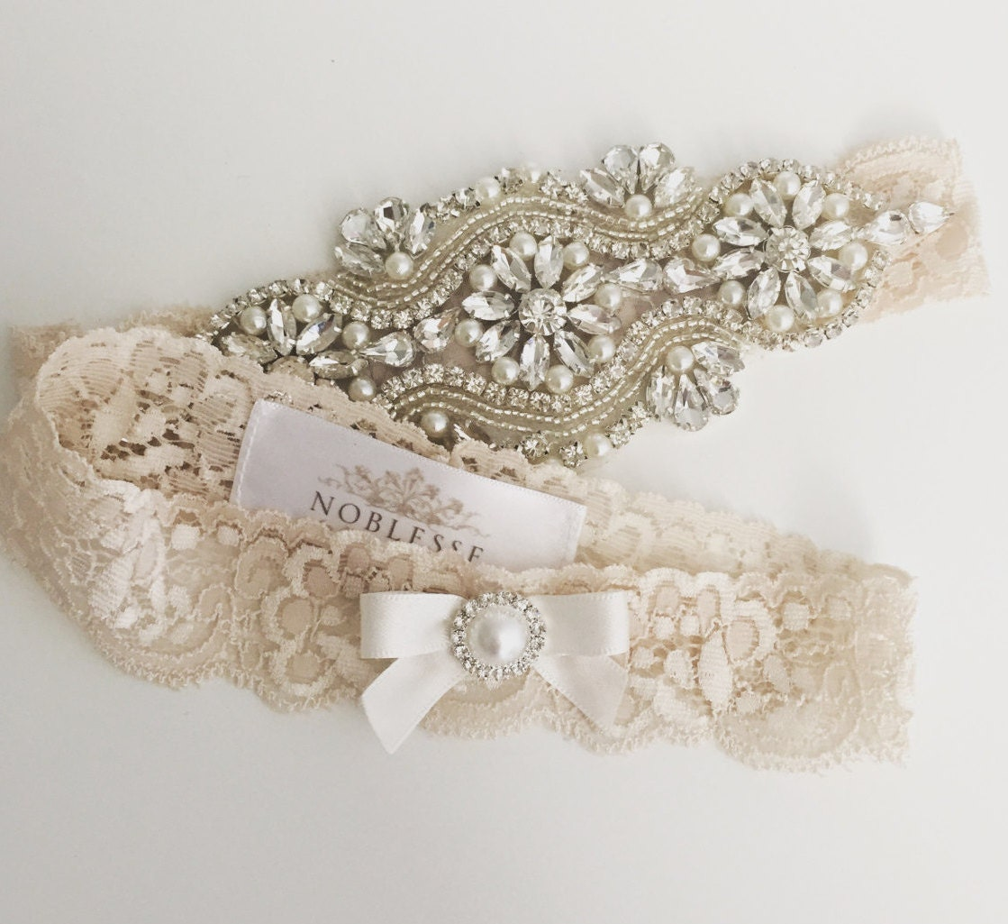 Country Wedding Garters: LEILA Wedding Garter-country Garter-champagne By SheNoblesse