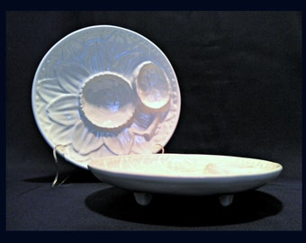 Vintage Set of 2 Majolica Artichoke Plates by Olfaire Portugal, White Footed Plates, Portuguese Art Pottery, #AP-1