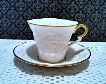 "Vintage ""Old English Oak"" Tea Cup and Saucer by Royal Stafford, Finest Bone China, Gold Trim, Mid Century, Circa 1960s"