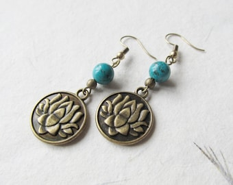 Lotus earrings, yoga earrings, lotus jewelry, turquoise earrings