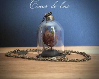 """Bijoux Collier mini-terrarium en verre """"Expression du coeur"""" - coeur de bois -"""