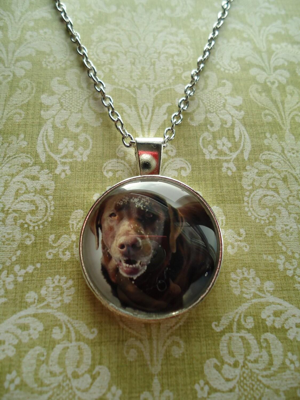 Keychains Circuit Board Glass Pendant Photo Necklace Keychain Chocolate Lab Silver Round I Love Dogs Labrador Retriever