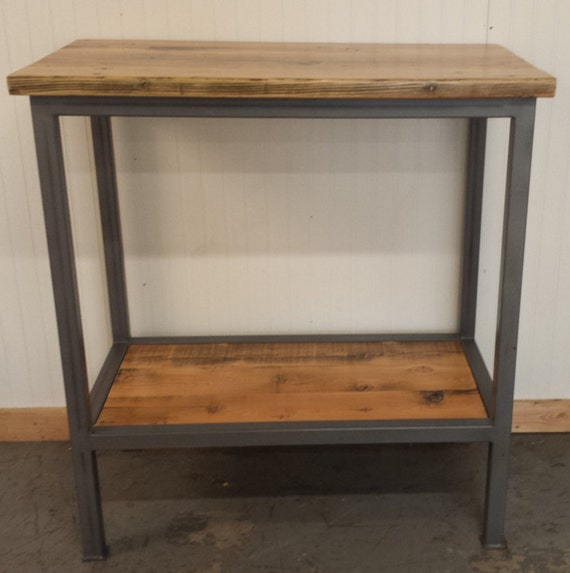 handcrafted bar height sofa console table with shelf below has. Black Bedroom Furniture Sets. Home Design Ideas